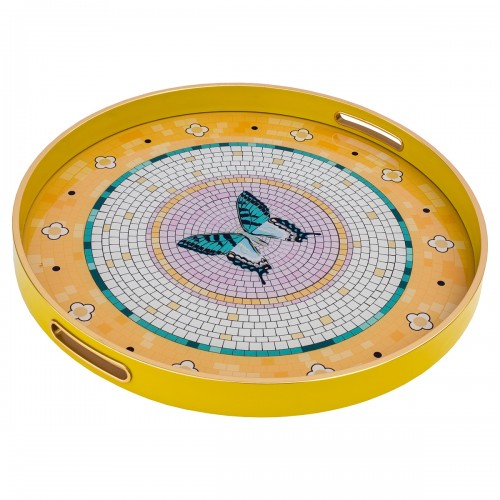 Circular Tray With Butterfly Design - Large