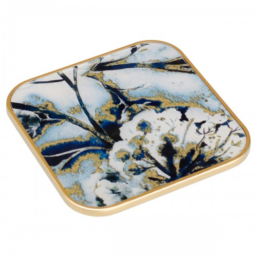 Square Coaster With Flower Design