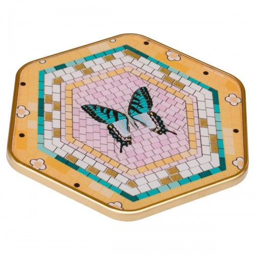 Hexagonal Coaster With Butterfly Design
