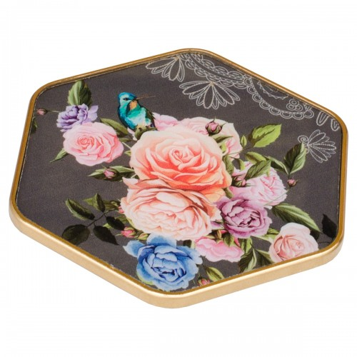 Hexagonal Coaster With Flowers Design