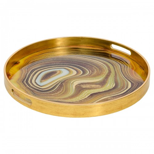 A Large Circular Gold Tray With Sand Design