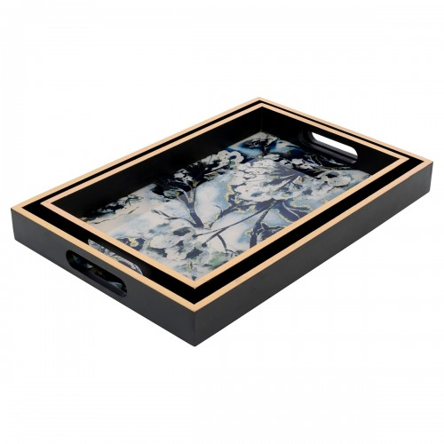 Rectangular Black Tray With Flower Design in Small & Large Sizes