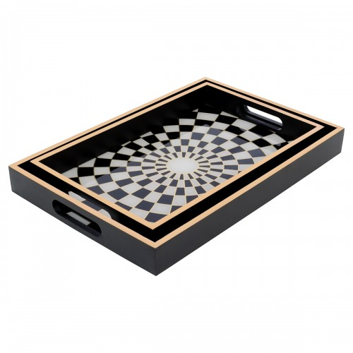 Rectangular Black Tray With Chequer Design in Small & Large Sizes