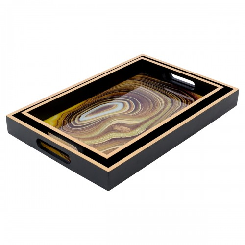 Rectangular Black Tray With Sand Design in Small & Large Sizes