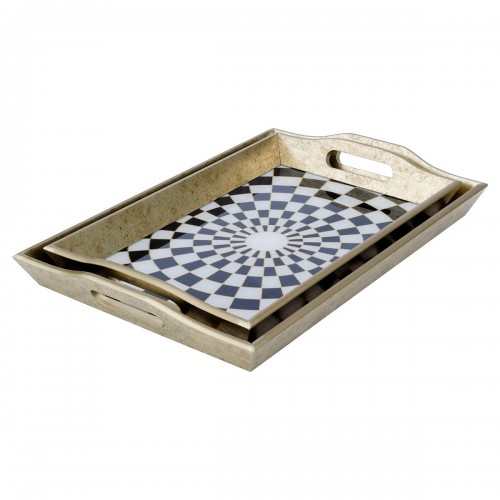 Rectangular Antique Gold Tray With Chequer Design in Small & Large Sizes