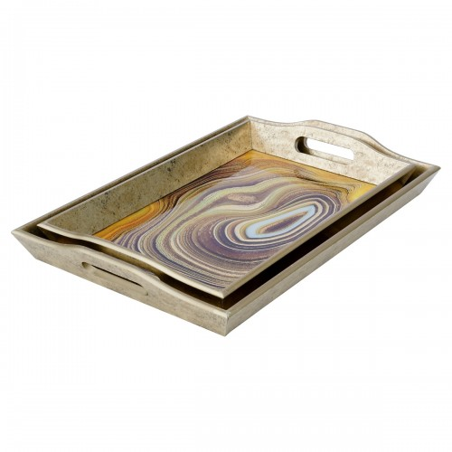 Rectangular Antique Gold Tray With Sand Design in Small & Large Sizes