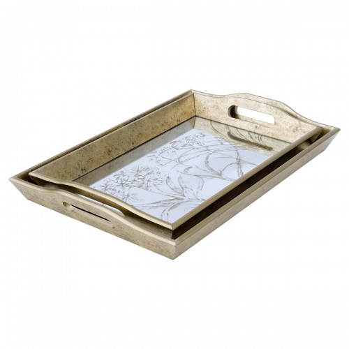 Rectangular Antique Gold Tray With Leaf Design in Small & Large Sizes