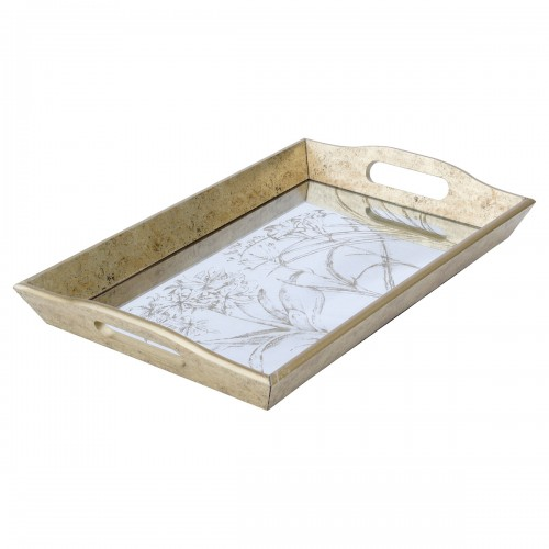 Rectangular Antique Gold Tray With Leaf Design
