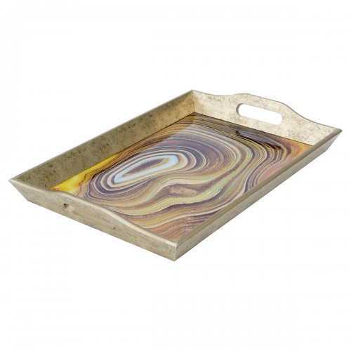 Large Rectangular Antique Gold Tray With Sand Design