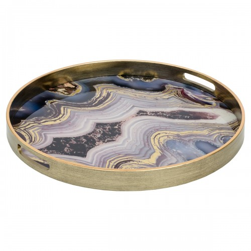 A Large Circular Antique Gold Tray With Oyster Design