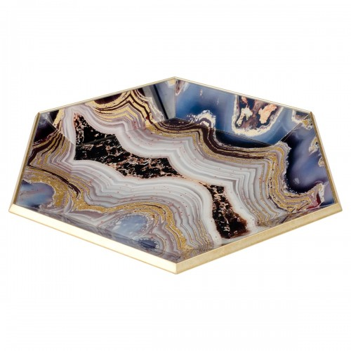 Hexagonal Gold Tray With Oyster Design