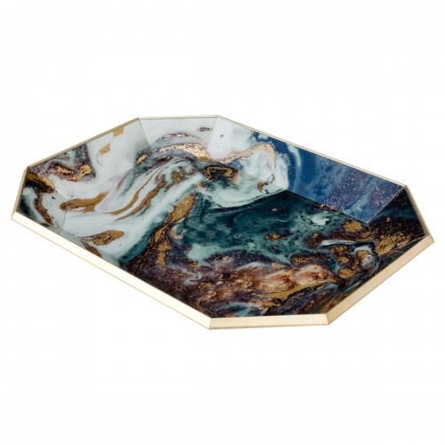 Octagonal Gold Tray With Emerald Agate Design