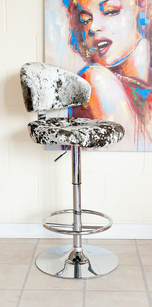 Casino Bar Stool in Lustro Silver Fabric
