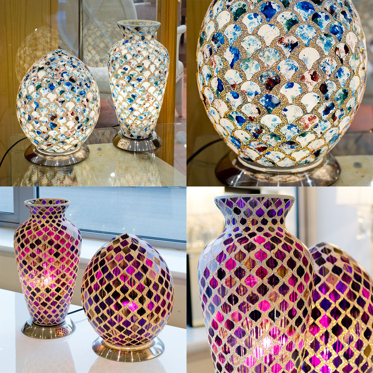 We have recieved samples of our new range of egg and vase shaped mosaic glass lighting, coming soon.