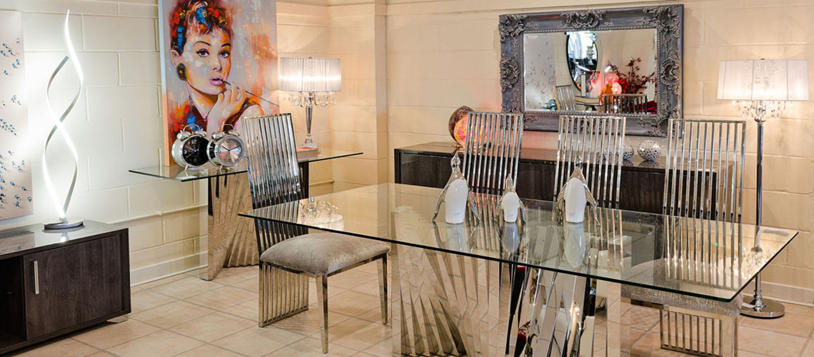 Metal Bars Glass Dining Table